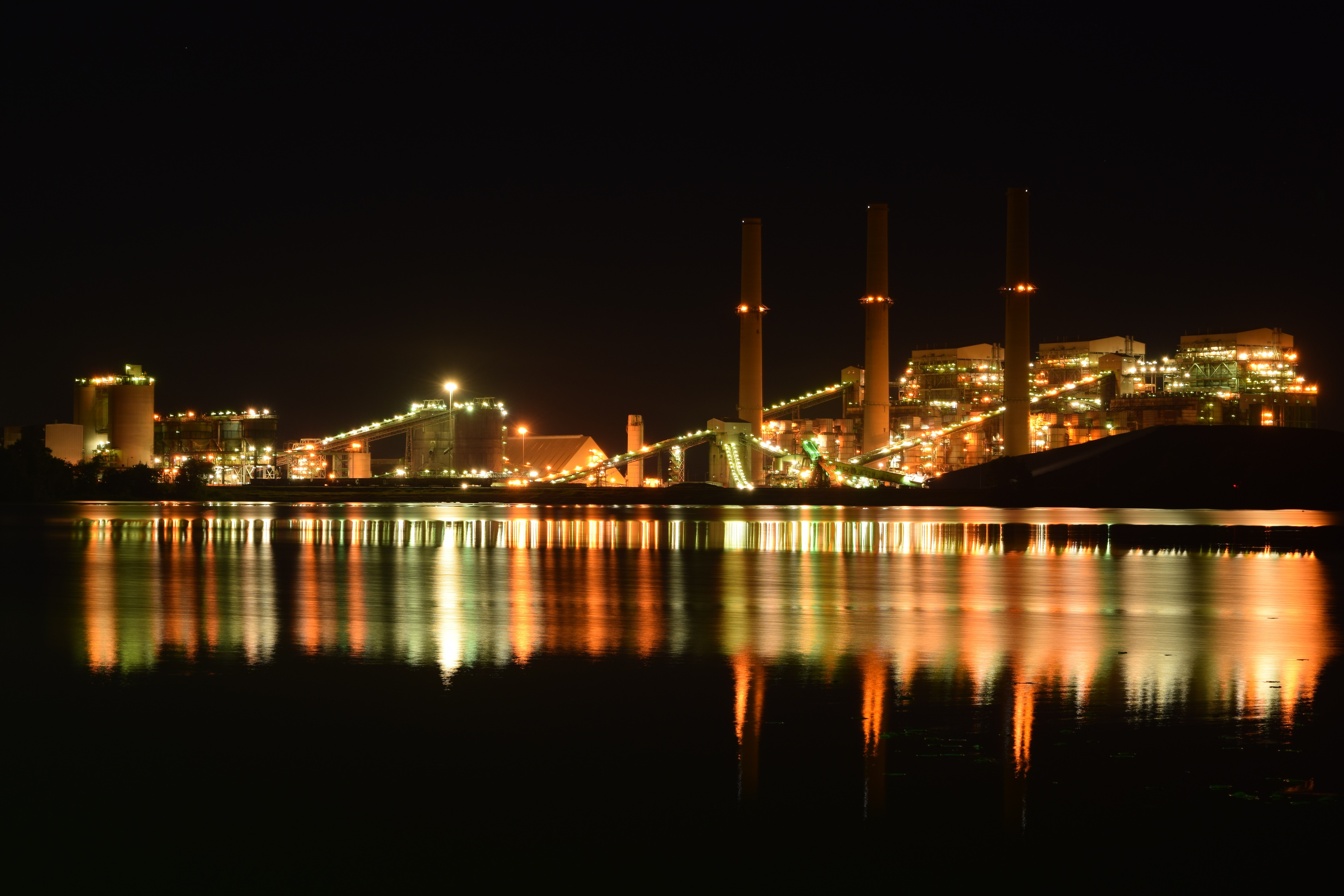 Photo of industrial park at night