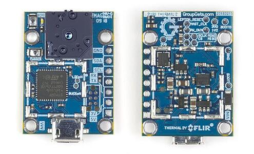 Pictures of front and back of PureThermal 2 - FLIR Lepton chip